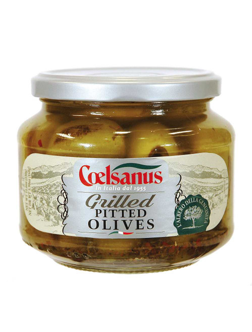 Grilled Pitted ted Green Olives in Oil, Coelsanus,  Italy, 12 oz