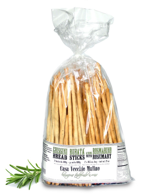 Grissini  Artisanal Breadsticks with Rosemary, Vecchio Mulino, Italy, 21 oz.