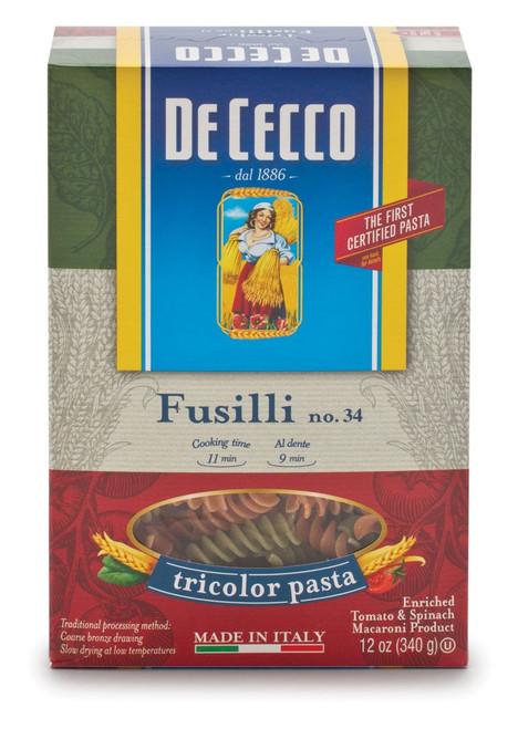 Pasta Fusilli Tricolor #34T, De Cecco,  Abruzzo, 0.75lb (340gr)