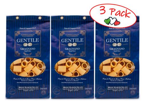 Pasta Mezze Maniche Rigate,  Gentile, Gragnano-Napoli, 1.1 lb (500 g) - 3 PACK