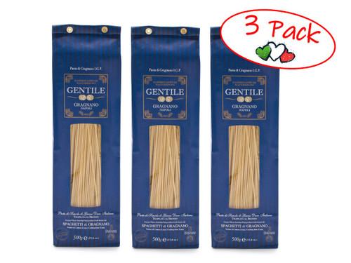 Pasta Spaghetti (8 min), Gentile, Gragnano-Napoli, 1.1 lb (500 g) - 3 PACK