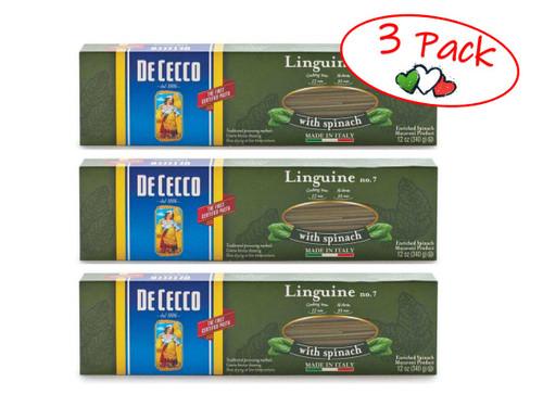 Spinach Linguine #7S, De Cecco, Abruzzo, 1.1 lb (500g) - 3 PACK