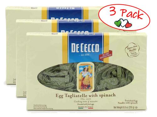 Spinach Tagliatelle #107, De Cecco, Abruzzo, 1.1 lb (500g) - 3 PACK