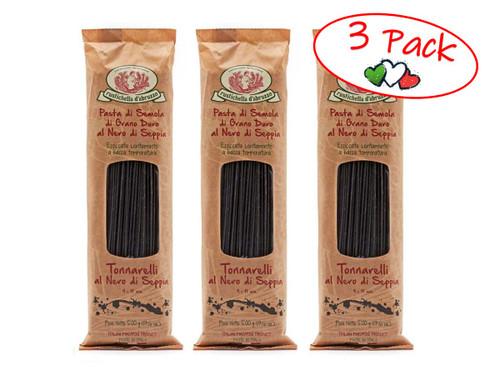Ink Squid Spaghetti, Rustichella, 1.1 lb (500g) - 3 PACK