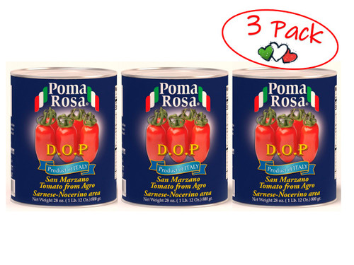 San Marzano Tomato, Pomodori San Marzano, Dop, Poma Rosa, Sarno, 28 oz (800 g) - 3 PACK