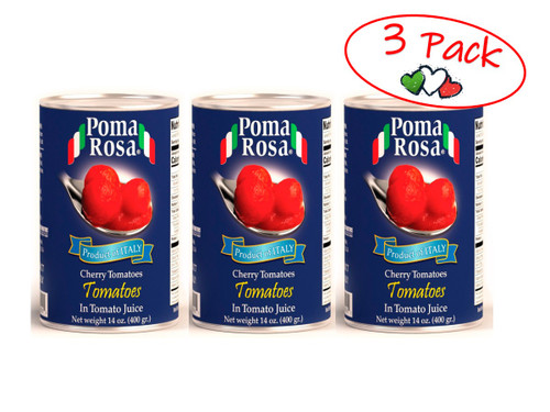 Cherry Tomatoes In Natural Juice, Poma Rosa, Sarno, 14 oz (400 g) - 3 PACK