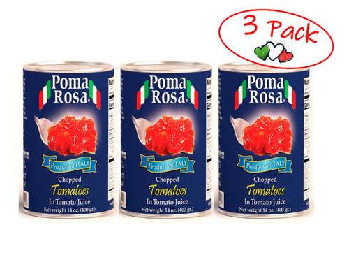 Chopped Tomatoes In Natural Juice, Poma Rosa, Sarno, 14 oz (400 g) - 3 PACK