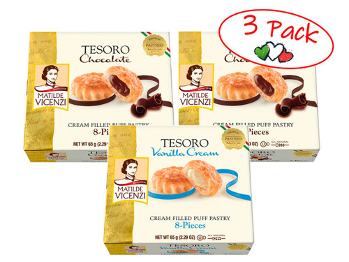 Puff Pastry Filled With Chocolate Cream and with Vanilla Cream, Tesoro, Italy, 2.29 oz (65 g) - 3 PACK