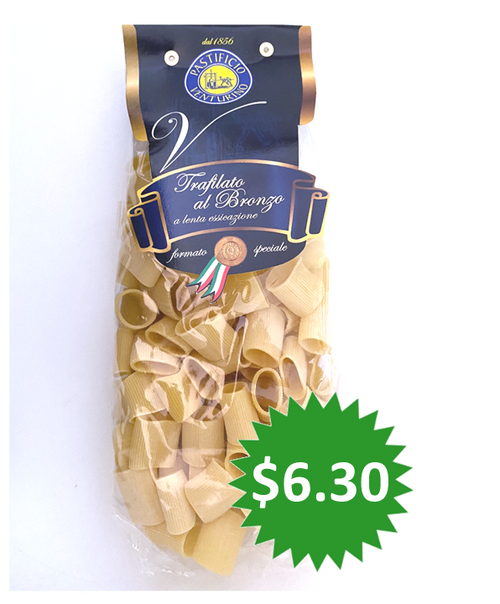 Pasta Mezzi Paccheri Rigati Pastificio Venturino, Salerno-Italy, 1.1 lb (500g)