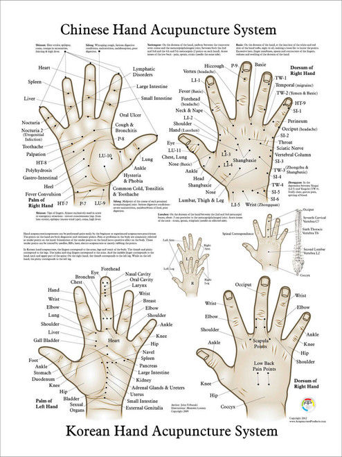 """Chinese & Korean Hand Therapy Hand Acupuncture Poster 18"""" x 24'"""