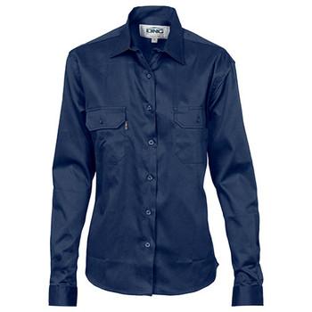 3232 - Ladies Cotton Drill Long Sleeve Work Shirt - Navy
