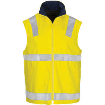 3765 - HiVis Cotton Drill Reversible Vest with Generic R/Tape