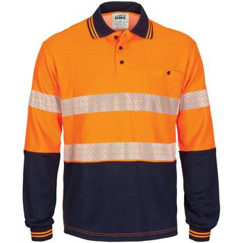 Orange Navy - 3518 - Hi Vis Segment Taped Cotton Backed Polo - Long Sleeve