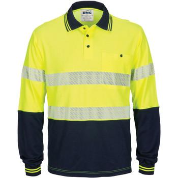 Yellow Navy - 3518 - Hi Vis Segment Taped Cotton Backed Polo - Long Sleeve