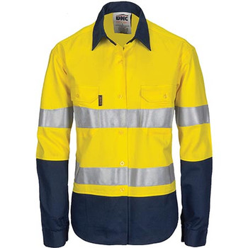 3786 - Ladies Hi Vis Cool-Breeze Cotton Shirt with CSR R/Tape - Long Sleeve - Yellow/Navy