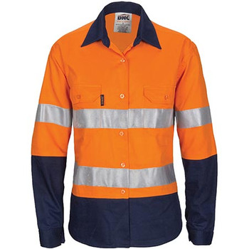 3786 - Ladies Hi Vis Cool-Breeze Cotton Shirt with CSR R/Tape - Long Sleeve - Orange/Navy