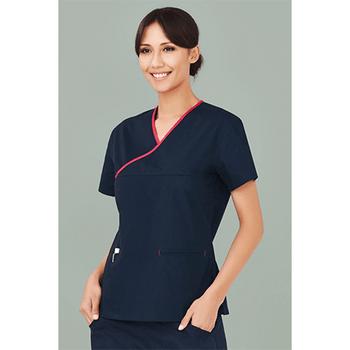H10722 - Ladies Contrast Crossover Scrubs Top Display