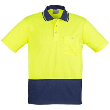 ZH231 - Unisex Hi Vis Basic Spliced Polo - Short Sleeve  - Yellow Navy