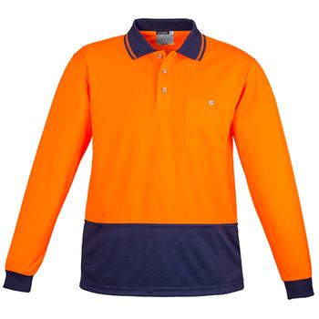 ZH232 - Unisex Hi Vis Basic Spliced Polo - Long Sleeve - Orange Navy