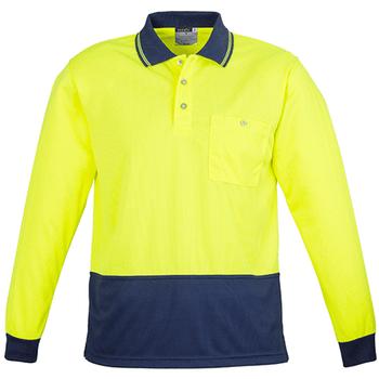 ZH232 - Unisex Hi Vis Basic Spliced Polo - Long Sleeve - Yellow Navy
