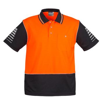 ZH236 - Mens Hi Vis Zone Polo Orange/Black Front