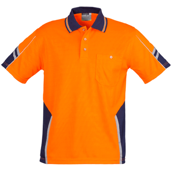 ZH237 - Mens Hi Vis Squad S/S Polo Orange Navy