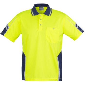 ZH237 - Mens Hi Vis Squad S/S Polo Yellow Navy