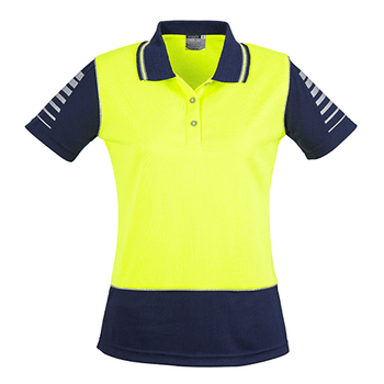 ZHL236 - Womens Hi Vis Zone Polo Yellow/Navy Back