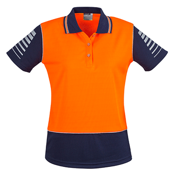 ZHL236 - Womens Hi Vis Zone Polo Orange/Navy Front