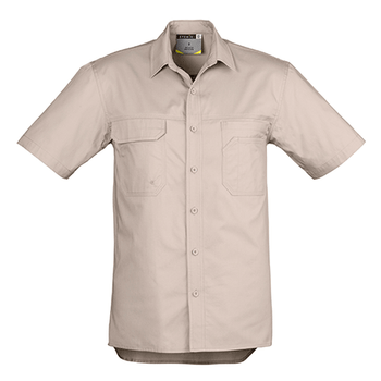 ZW120 - Mens Light Weight Tradie S/S Shirt Khaki Front