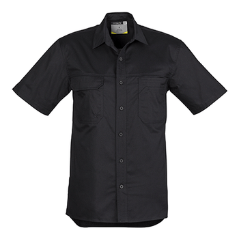 ZW120 - Mens Light Weight Tradie S/S Shirt Black Front