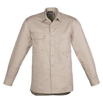 ZW121 - Mens Lightweight Tradie L/S Shirt Khaki Front