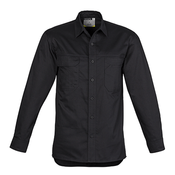 ZW121 - Mens Lightweight Tradie L/S Shirt Black Front
