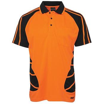 6HSP -Hi Vis S/S Spider Polo - Orange/Black