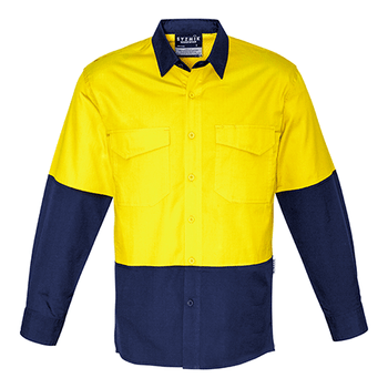 ZW128 - Mens Rugged Cooling Hi Vis Spliced Shirt Yellow/Navy Front