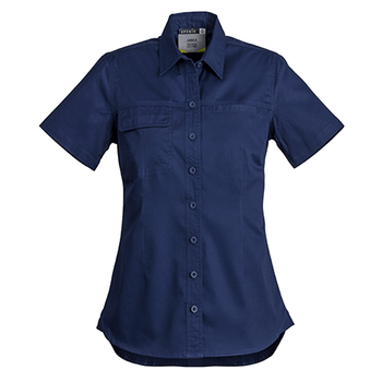 ZWL120 - Womens Lightweight S/S Tradie Shirt Navy Front
