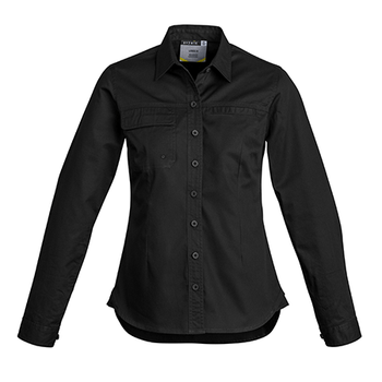 ZWL121 - Womens Light Weight Trade L/S Shirt Black Front