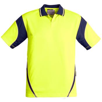 ZH248 - Mens Hi Vis Aztec Polo - Short Sleeve  Yellow Navy