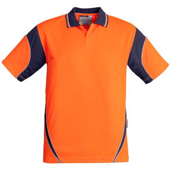 ZH248 - Mens Hi Vis Aztec Polo - Short Sleeve  Orange Navy