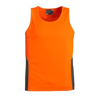 ZH239 - Unisex Hi Vis Squad Singlet Orange/Charcoal Front