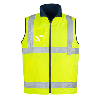ZV358 - Mens Hi Vis Lightweight Fleece Lined Vest Y FRONT