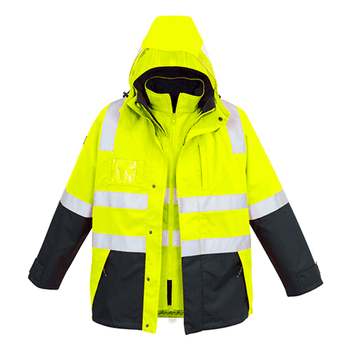 ZJ532 - Mens Hi Vis 4 in 1 Waterproof Jacket y/n front
