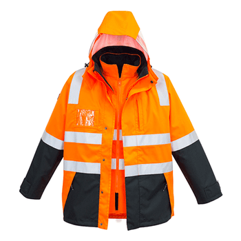 ZJ532 - Mens Hi Vis 4 in 1 Waterproof Jacket o/n front