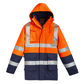 ZJ900 - Mens Arc Rated Anti-Static Waterproof Jacket Orange/Navy Front