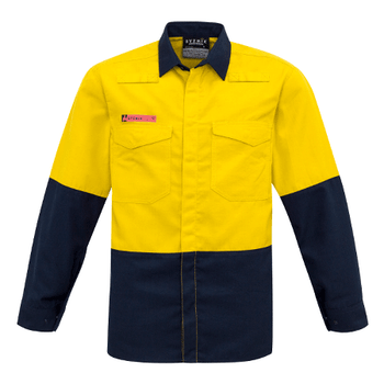 ZW138 - Mens Hi Vis Spliced Shirt Yellow/Navy Front