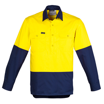 ZW560 - Mens Hi Vis Long Sleeved Closed Front Shirt