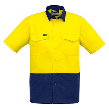 ZW815 - Mens Rugged Cooling Hi Vis Spliced S/S Shirt Yellow/Navy Front