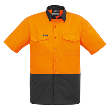 ZW815 - Mens Rugged Cooling Hi Vis Spliced S/S Shirt Orange/Charcoal Front