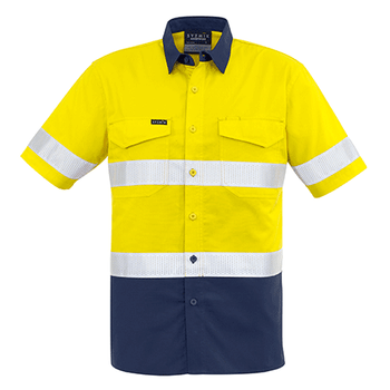 ZW835 - Mens Rugged Cooling Taped Hi Vis Spliced S/S Shirt Yellow/Navy Front
