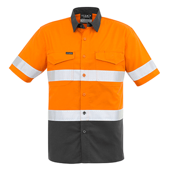 ZW835 - Mens Rugged Cooling Taped Hi Vis Spliced S/S Shirt Orange/Charcoal Front